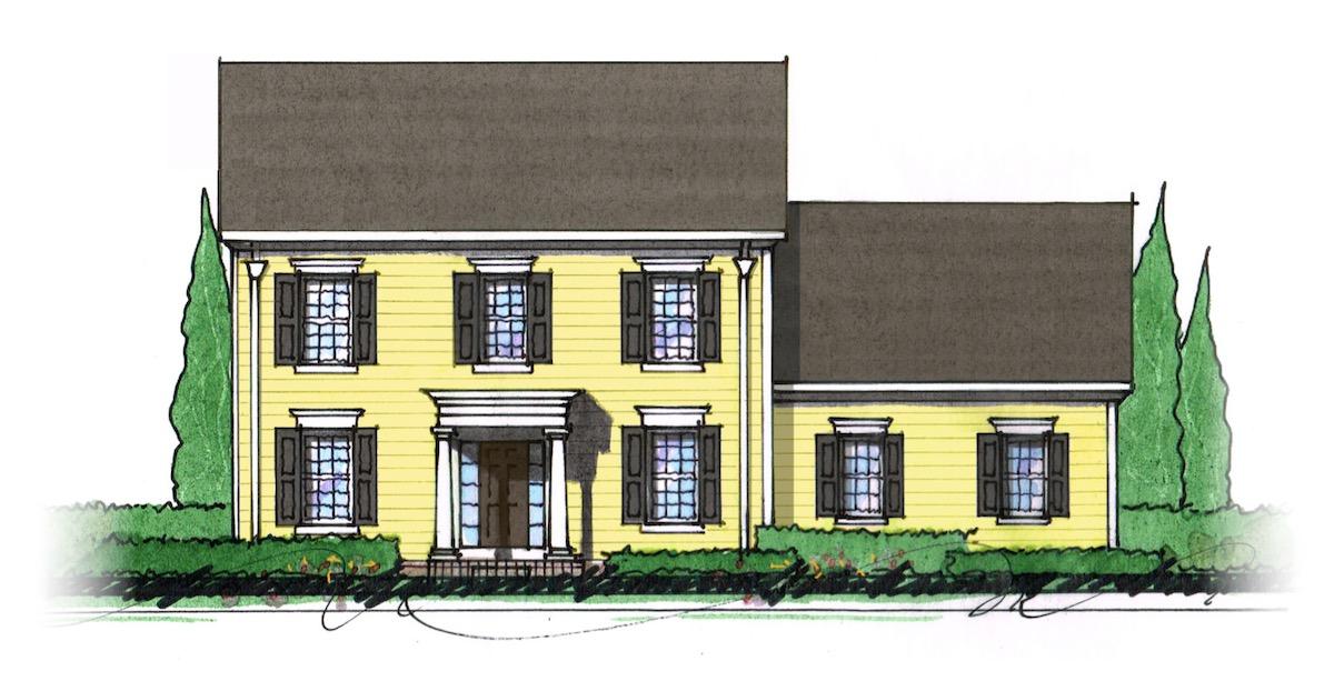The Milton custom home floor plan - Elevation A.