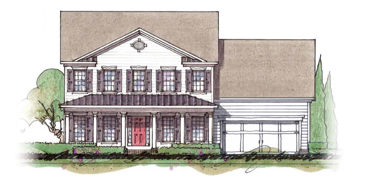 The Milton custom home floor plan - Elevation B.