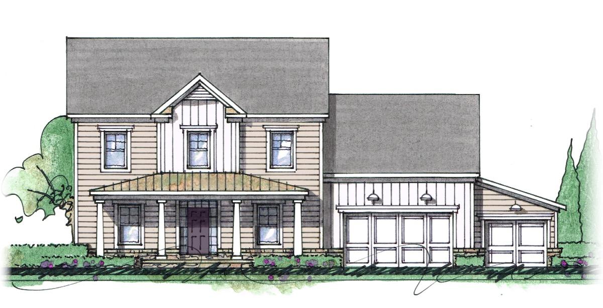 The Milton custom home floor plan - Elevation I.
