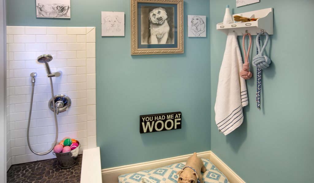 A custom pet washing station that appears in pet-friendly homes.