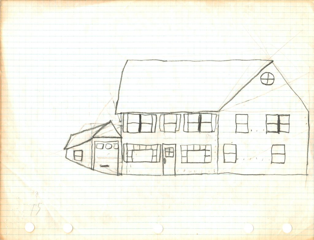 Mark Braunsdorf's childhood drawing of a home.
