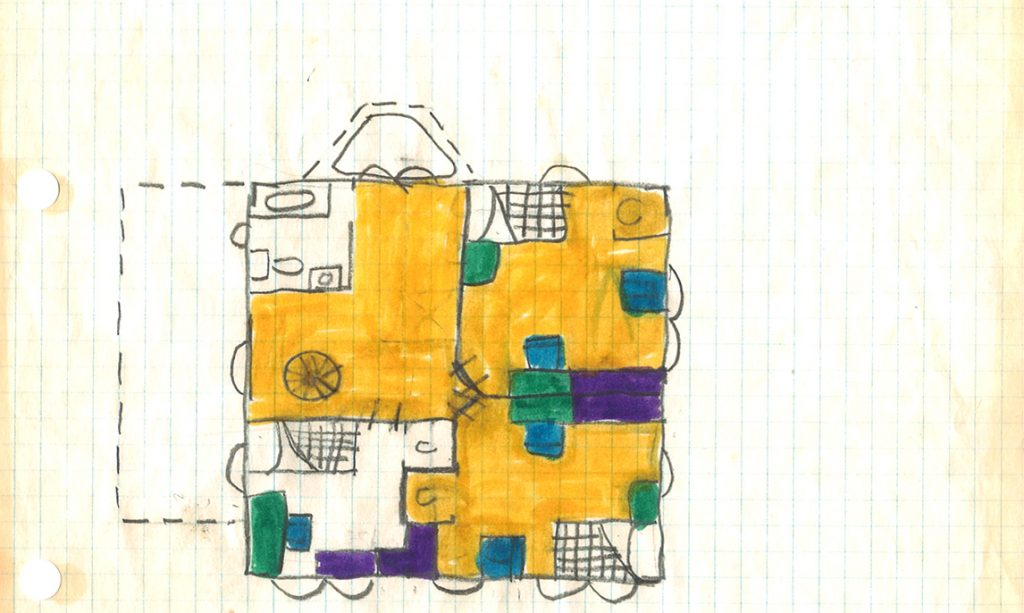 A drawing of a home floor plan made by Mark Braunsdorf as a child.