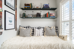 Bonus room inspiration: cozy reading nook.