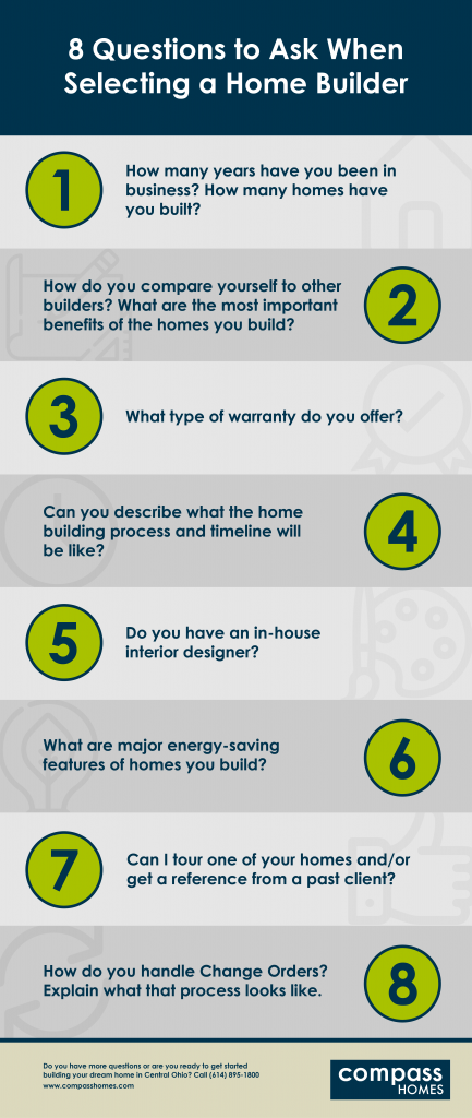 8 Questions to Ask When Picking a Homebuilder infographic.