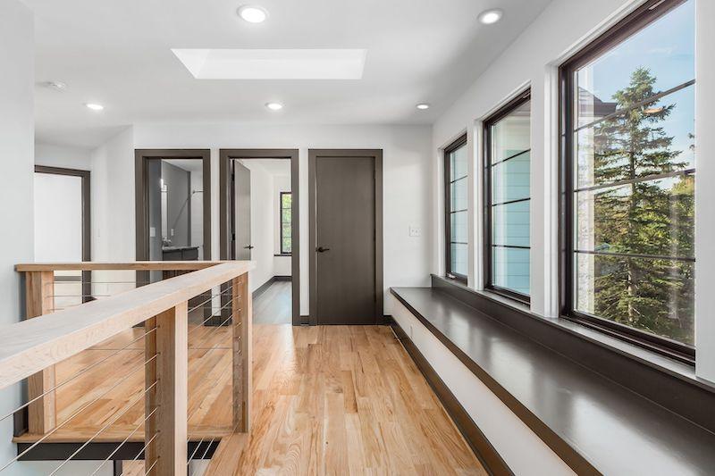 Hardwood flooring in a hallway.