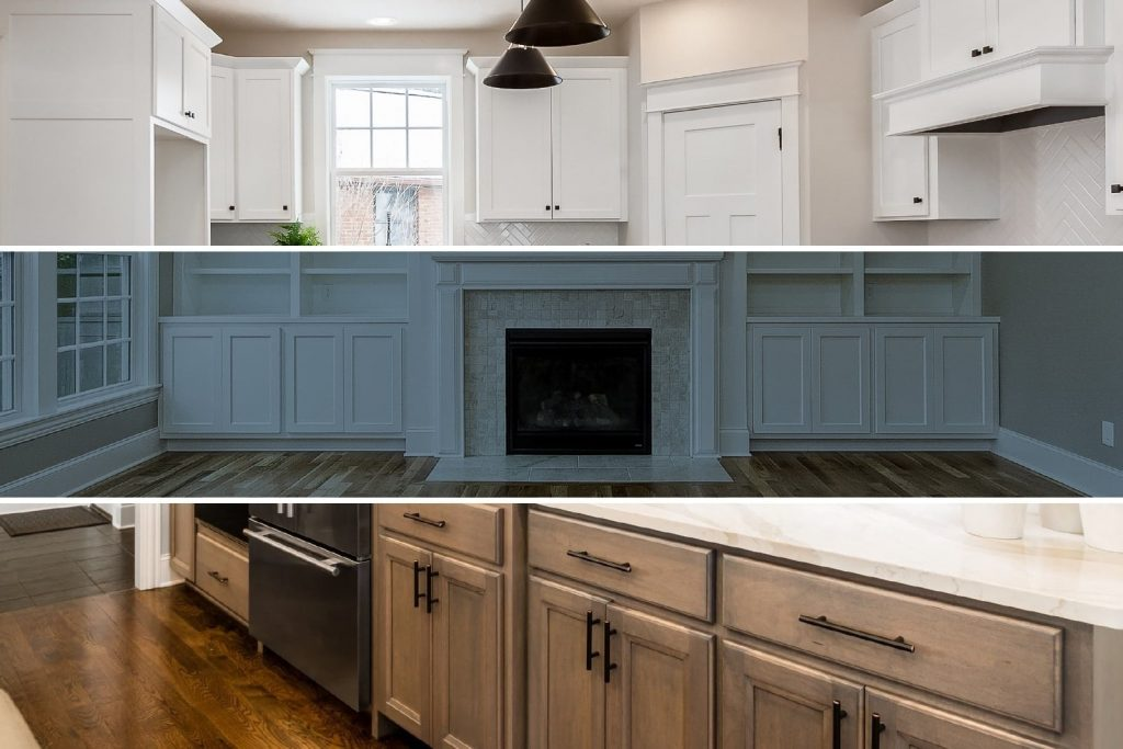 Examples of cabinets in custom built homes.